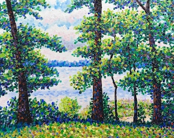 """Original Impressionist Oil Painting               """"Lineup Along the Lake"""" 18x24"""