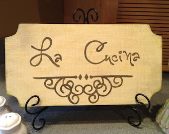 La Cucina Wood Sign, Tuscan-Style Kitchen Sign, La Cucina Kitchen Sign, Italian Sign