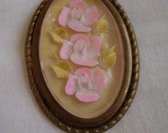 Brooch Reverse Carved Lucite Rose Flower Vintage Pin Large Oval Brass Frame