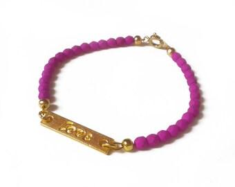 Love Bracelet, Word Bracelet, Purple Beaded Bracelet, Love Jewelry, UK Seller