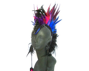 Mohaw head piece,Leather Feather Head dress,burning man, shaman,rainbow warrior, winged headpiece:Renegade Icon Designs;Rara Avis Collection