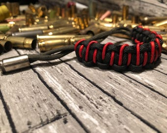 Leather/Paracord/Bullet Bracelet- Red Black OD green with Silver 9mm Bullet Casing
