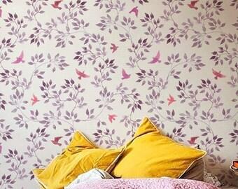 Bohemian removable wallpaper, Vintage birds pattern, Wall Decal, BW008