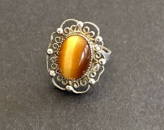 Vintage Sterling Silver Ring, Lacy Filigree Setting, Cats Eye Gemstone, Pinkie Ring, SZ 3.25, Victorian Revival