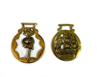 Vintage Pair of Horse Brass, Horse Ornaments, Horse Medallions, Vintage Equestrian Decor