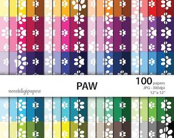 Colors paws digital paper, rainbow scrapbook paper, colors paws, rainbow paws background, paws digital pattern, instant download