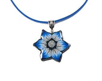 Polymer Clay Flower Pendant Necklace, Flower Jewelry, Royal Blue Necklace Flower, Fimo Necklace, Fimo Jewelry, Polymer Clay Jewelry