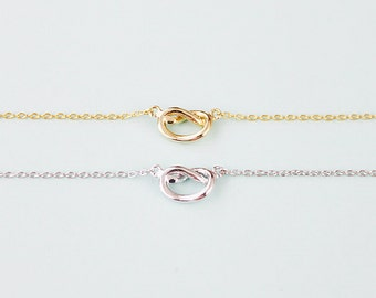 Tiny Gold and Silver Love Knot Charm Necklace Bridesmaid Gift Birthday Gift Love Heart Necklace Tied Knot Necklace