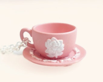 Lorene - white rose teacup necklace - miniature tea cup necklace - tea jewelry - blue tea cup - green tea cup