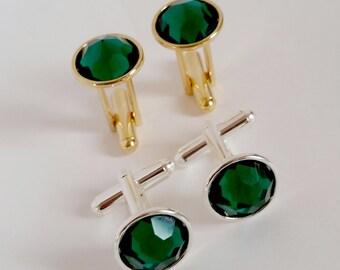 Tuxedo Cuff Links - Vintage Emerald Round Swarovski Crystal on a Silver or Gold Cuff Link