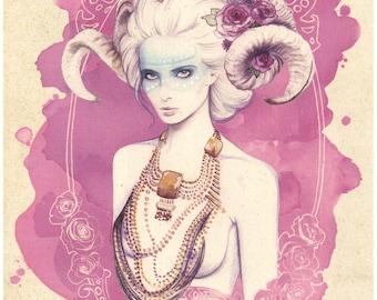 Ilustración: Lady Horns. LIMITED EDITION.