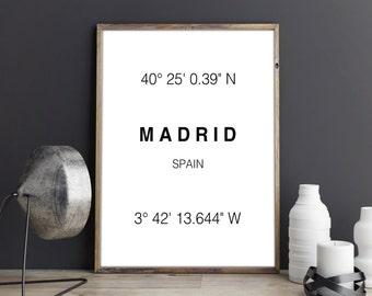 Madrid Print, Madrid Coordinates, Madrid Art Print, Madrid Wall Art, Madrid, Typographie, Wall Decor, Poster, Printable Art, Digital Print