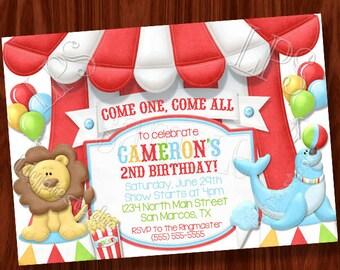 Lion Circus themed invitation