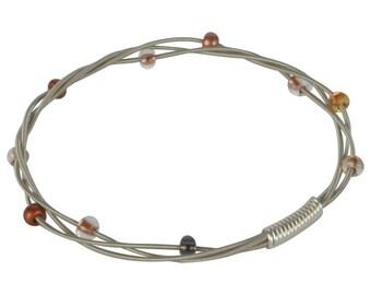Beaded Guitar String Bangle Bracelet - Copper