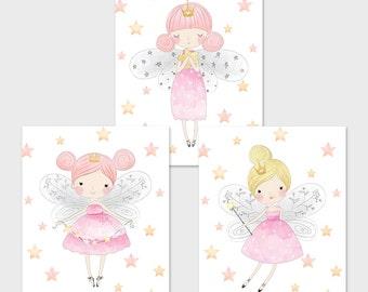 Fairy Printable Set Pink and Gold Fairies Fairy Nursery Decor Fairy Wall Art Magical Nursery Decor Pink Fairy Print Fairy Table Sign 113