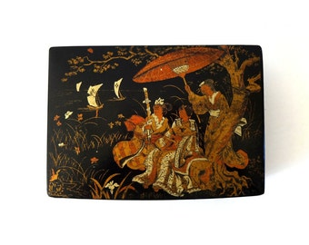 Antique Vintage French Napoleon III Papier Mache Box - Chinoiserie Black Lacquer & Gold - Women in Kimonos with Parasols Watching Boats