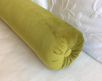 Avocado green VELVET decorative Bolster Pillow 6x22