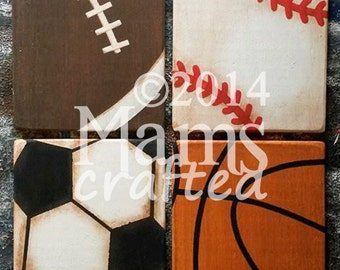 Vintage Sports 8x10, Set of Four (4) 8x10 Weathered Wood Wall Art Pieces