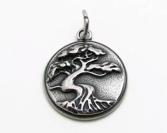 Tree Pendant, Family Tree Pendant, Stainless Steel Charm, Jewelry Pendant, SST Findings 19mm, Set of 3, Tree Charm, Family Tree Charm