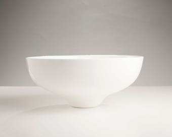 Handmade White Ceramic Large Elem Bowl