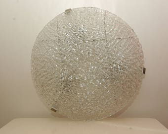 Beautiful ceiling lamp chandelier ice Glass possibly Doria mid century