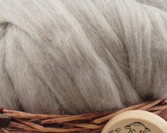 Grey Baby Alpaca Top - Undyed Natural Spinning Fiber/ Roving - 1oz