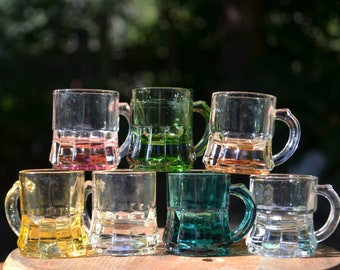 Set of 7 Vintage Multi-Color Glass Shot Glasses by Federal Glass Co.