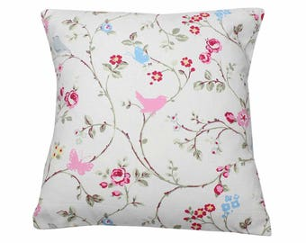 Grey Bird Trail Clarke and Clarke Floral Fabric Vintage Shabby Chic Cushion Cover