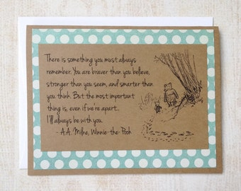 Always Remember - Winnie the Pooh Quote - Classic Piglet and Pooh Note Card Blue Border