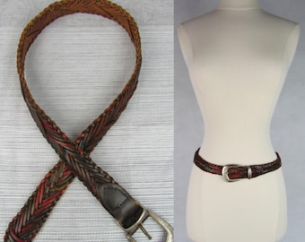 Vintage 90s Beautiful Braided Red and Brown Leather with Metal Buckle Belt by Navasota, Southwestern Belth, Boho Belt, Bohemian Belt SIZE S