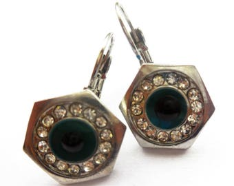 Vintage Earrings Dangle Evil Eye Blue Rhinestones Silver Tone Metal Retro Metaphysical Costume Jewelry Fashion Accessories All Seen Eye