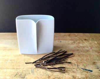 Rosenthal Studio-Linie White Vase, Rosenthal Owl Vase, Vintage Pottery Vase, Modernist White Bisque Vase, Porcelain Vase, German Pottery