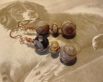 Chocolate Swirl Faceted Banded Agate Bead Copper Wire Wrapped Dangle Earrings (11L143)