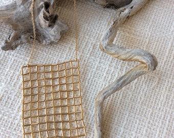 Gold plated beadwork Klara bib necklace