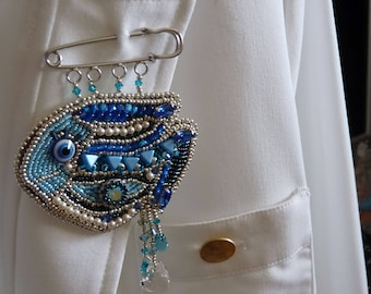 Blue Fish Brooch, Beaded Safety Pin, Beaded Brooch Swarovski Rivoli Crystal , Scarf Pin, Gift for girlfriend, Valentines gift