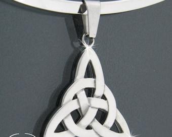 316L Stainless Steel Collar & Trinity Knot Pendant, Celtic Necklace, Irish, Scottish, Welsh, Christian ,steel chain (Collars28)