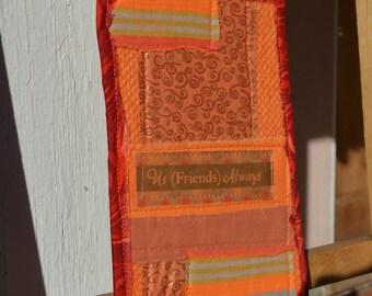 Red Orange Doorknob Hanging Art Quilt - Us