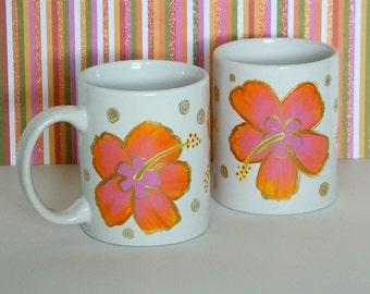 Orange Pink Hawaiian Hibiscus Coffee Tea Cup Mug Hand Painted