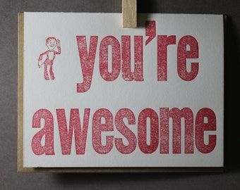 You're Awesome Letterpress Card ~ Handmade ~ FREE shipping within the US ~