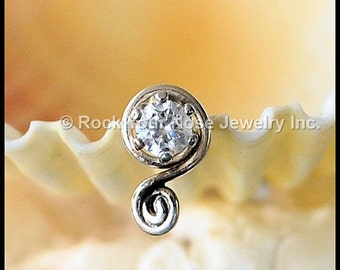 Nose Stud Silver/Diamond Style Nose Stud/Nose Screw/Unique Nose Stud/Rock Your Nose/Gemstone Nose Pin/24G/22G/20G/18G/ - Customize