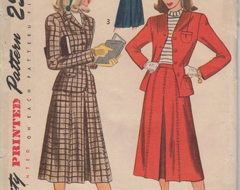 Bust 34-FACTORY FOLDED 1940's Skirt and Jacket Size 16 Waist 28