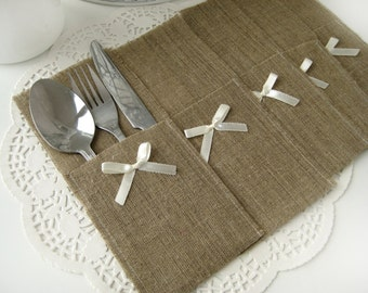 Set of 120-Burlap Silverware Holders with ivory bow - Rustic table decor