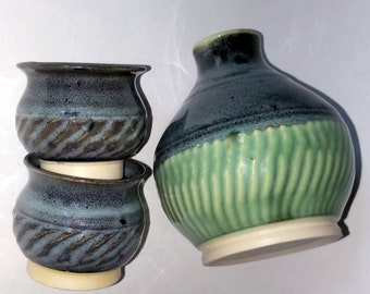 Sake Bottle and 2 Cups -  Green and Black Sake Set - Wheel Thrown Pottery  with Chattered Texturing - Microwave and Dishwasher Safe