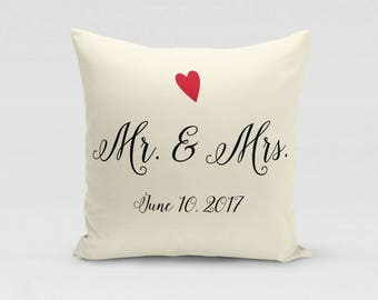 Mr. and Mrs. Wedding Pillow Cover - Customized with Wedding Date - Twill Pillowcase - COVER only - Beige Pillow