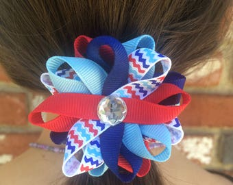 Red, White & Blue Chevron Stripe Hair Bows, Handmade Hair Bows, Independence Day, Patriotic Hair Bows, Girls Accessories, Gifts for Her