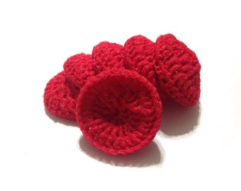 Red Crocheted Nylon Netting Dish Scrubbies- Set Of Six