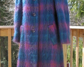 Vintage 1980s Vibrant Jewel Toned Plaid Full Length Mohair Coat By George David Fashons Size 4 Petite Satin Lined