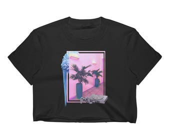 Vaporwave AESTHETIC བརད་  Miami Playstation Glitch Palm Tree Tropical Flowers Skate Playstation PS1 Tumblr Instagram Women's Crop Top