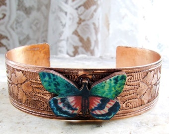Cuff Bracelet Etched Copper with Butterfly - Free Domestic Shipping