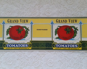 TOMATOES label Advertising GRAND VIEW Tomatoes label. W. G. Lucas & Sons Warfordsburg, Pa